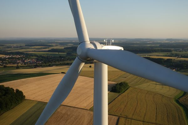 Aerial view of wind turbine.